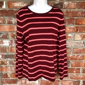Talbots brown and red striped pull over shirt L
